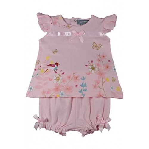 NEW IN GIRLS PINK TOP & SHORTS SET